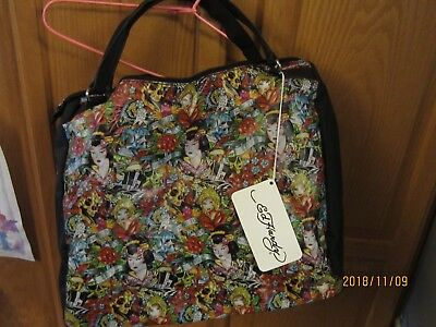 2dd30cb0ac Ed Hardy by Christian Audigier zip tote bag True To My Love pattern - Mint  Condi