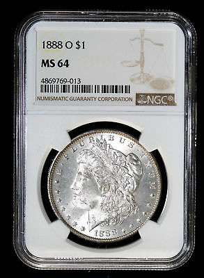 1888 O Morgan Silver Dollar Coin **Reverse Toning** Ngc Ms64 #7769-013