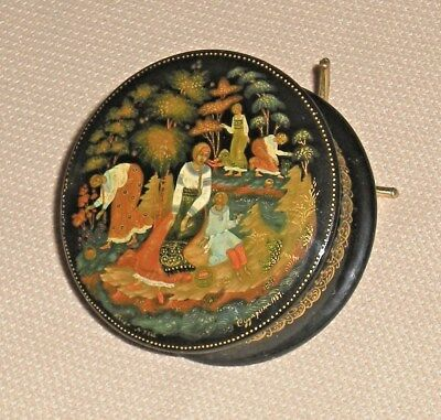 Vintage Russian USSR Lacquer Box 1987 PALEKH Artist Sudarina In the Forest 629g