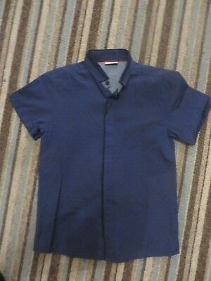 boys boy shirt top age 8 years next short sleeved navy blue new no tags smart