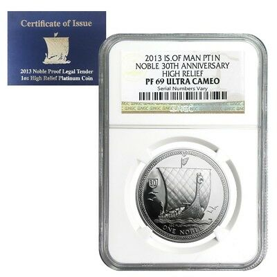 2013 Isle of Man 1 oz Platinum Noble High Relief NGC PF 69 UCAM (w/COA)