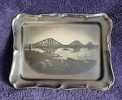 Antique Treacle Glaze Ridgways Forth Bridge Scotland Wall Plate Late 1800s