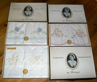 2 VINTAGE Dorcas Embroidered Pillow Case set + Bolster & pillow case sets boxed