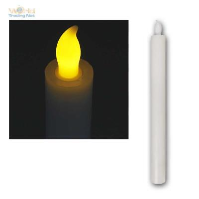 Led Real Wax Stablerze 25cm, Ø 2,5cm Table Candle with Timer, Made of White