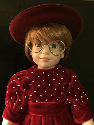 "Magic Attic Doll Megan 18"" tall, R. Tonner dressed in red velvet outfit and hat"