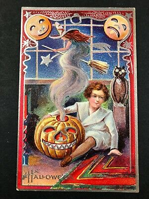 Antique Halloween Postcard Witch Jack-o-lantern Owl Child Occult Bridgeport CT