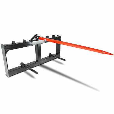 """43"""" Tractor Hay Spear Attachment 3000 lb Capacity Skid Steer Loader Quick Tach"""