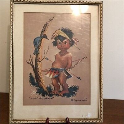 """Joey Big Arrow"" Print, framed & Signed Montague Indian Boy Hunting"