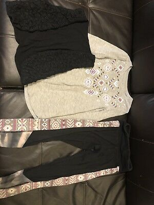 Justice Complete Outfit Size 8 Winter Leggings Long Sleeve And Vest