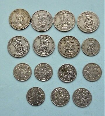 Mixed Lot Of 15  .500 Silver Pre-1947 Silver Coins Shillings And Sixpences