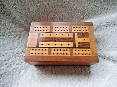 Old Inlaid Wooden Cribbage Board Hinged Box