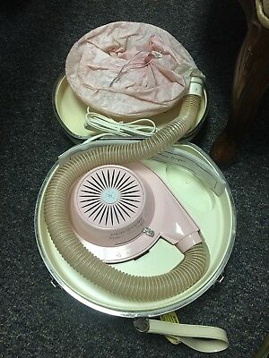 Vintage 1963 General Electric GE Deluxe Hair Dryer bonnet & Case