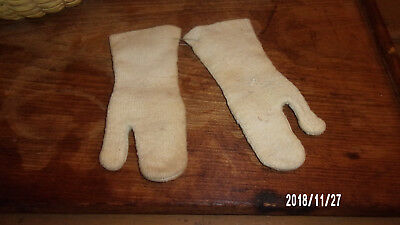 Antique Mittens Hand Knit ~ Hooked White Cream Wool ~ Child's Sz Homespun AAFA