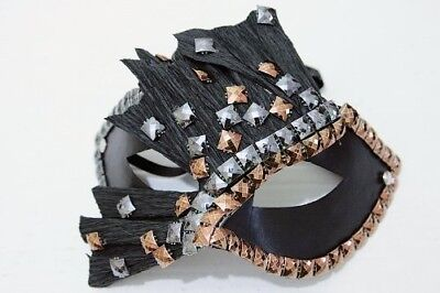 Sugar Sins Gold and Silver Studed Masquerade Mask