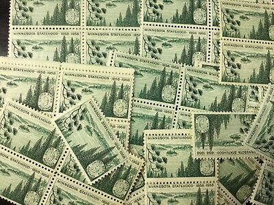 {BJ Stamps} 1106 Minnesota Statehood. 100 count 3¢ mint Stamps. In 1958