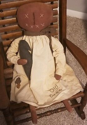Primitive Autumn Fall Pumpkin Head Doll Old Crow Folk Art