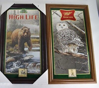 2 Miller High Life Wild Life Series Brown Bear and Snow Owl Mirror