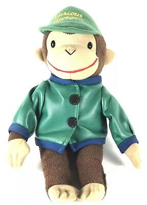 """Vintage 14"""" Curious George Plush Doll Green Jacket And Hat """"Toy Network"""""""
