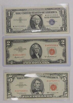 3 Note Lot $5 Red Seal, $2 Red Seal, $1 Silver Certificate  UNC Check Pics!!