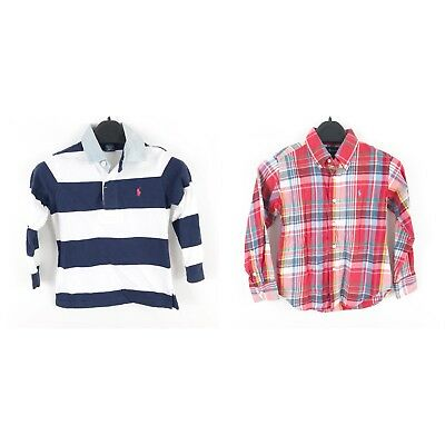 Polo Ralph Lauren Toddler Boys Button Down Rugby Shirt Lot Size 4T Striped Plaid