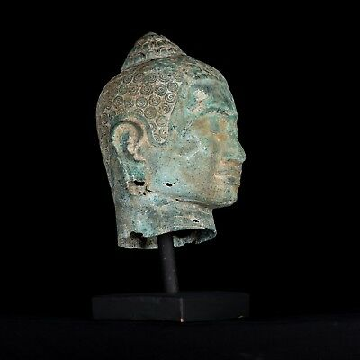 Antique 19th Century Khmer Mounted Bronze Bayon Buddha Head Statue - 49cm/20""