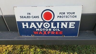 Vintage Havoline Wax Free Motor Oil Porcelain Pump Plate Sign Indian Texaco Can