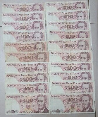 Poland Lot of 20 Old Banknotes 100 Zlotych 1988