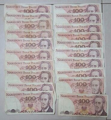 Poland Lot of 20 Old Banknotes 100 Zlotych 1986