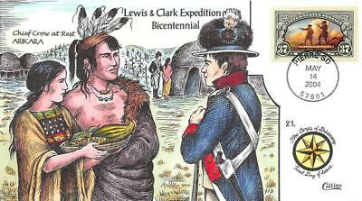 3854 37c Lewis & Clark, Chief Crow, Collins H/P Hand Painted [E427530]