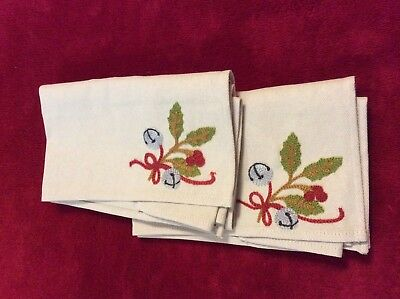 Longaberger Embroidered Napkins ~ Holly Bells ~ Set of 2 ~ EUC ~ Flax ~ 18""