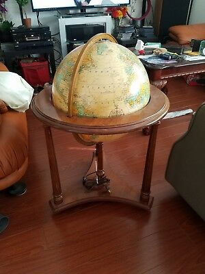 "Heirloom Globe Lighted Floorstanding Replogle Diameter 16"" antique. A+ condition"