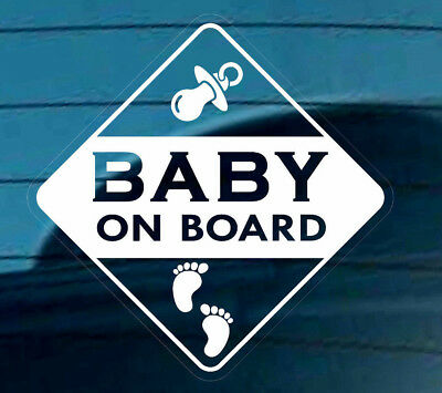 BABY ON BOARD STICKER DECAL SIGN REUSABLE CAR  WINDOW  SAFETY Footprints Varning