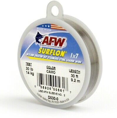 AFW D030-0 Surflon, Nylon Coated 1x7 Stainless Leader Wire, 30 lb