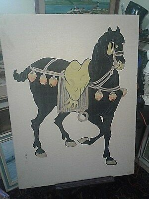 Antique Chinese painting on cloth of horse  HONG WHA