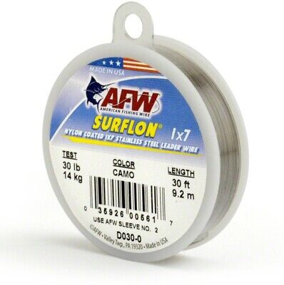 AFW D060-0 Surflon, Nylon Coated 1x7 Stainless Leader Wire, 60 lb