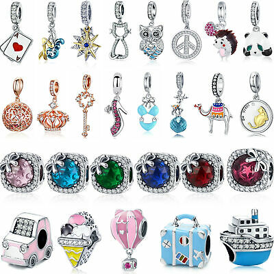 Wostu Mutiple 925 Silver AAA CZ Charms Jewelry Fit Charm Bracelet Girls Present