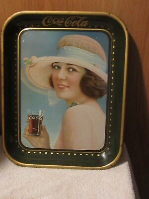 """Excellent 1921 """"summer Girl"""" Coca Cola Advertising Full Size Soda Tray"""