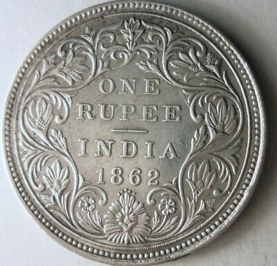 1862 BRITISH INDIA RUPEE - AU - EXCELLENT High Value Silver Crown Coin - Lot N16