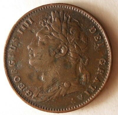 1822 GREAT BRITAIN FARTHING - Rare Low Mintage Coin - Big Value - Lot #N16