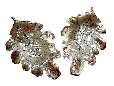 BLACKINTON Sterling SILVER LEAF Trays ANTIQUE PAIR