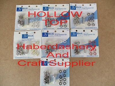 Birch Soft Touch Snap Fastener Kit Hollow Or Button Top Choose Color