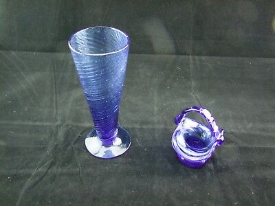 Vintage Cobalt Blue Hand Blown Glass Vase and Basket w Handle