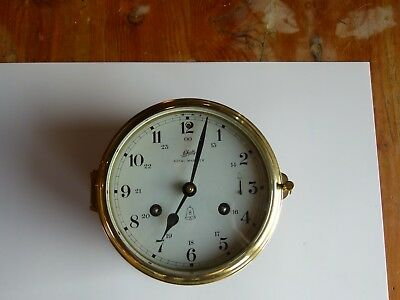 Vintage Schatz Royal Mariner German Ship's Clock 8 Day Brass w/ Key - Works