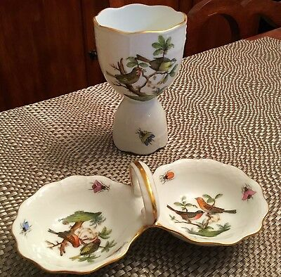"HEREND ""ROTHSCHILD BIRD"" DOUBLE SALT DIP and EGG CUP EXCELLENT CONDITION"
