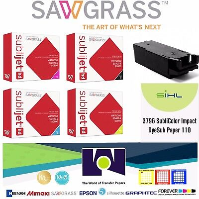 Sublimation SAWGRASS Combo, Ink Set CMYK, Waste Tank, 100 Sh Impact Papers