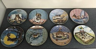 Gary Patterson COMICAL CATS 8 Plate Set Numbered Limited Edition