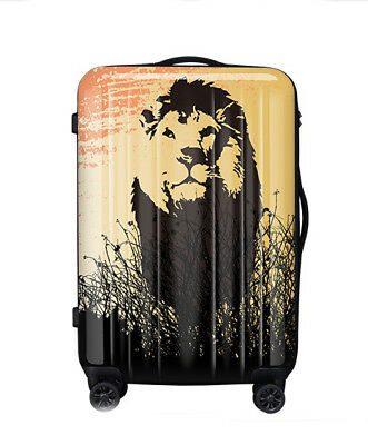 D196 Lock Universal Wheel Vintage Lion Travel Suitcase Cabin Luggage 20 Inches W