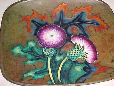 "Beautiful Signed ""Jn"" Arts Crafts Enamel Copper Tray Hammered Japanese-Inspired"