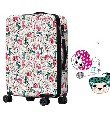D150 Lock Universal Wheel Multicolor Cats Travel Suitcase Luggage 24 Inches W