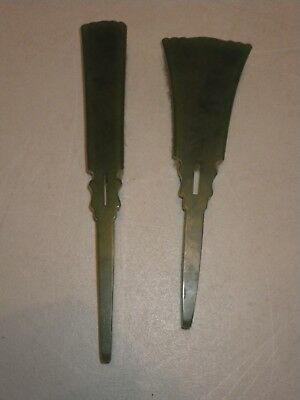 Pair of Antique Vintage Bakelite Green Vanity Brushes Agalin